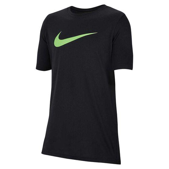 Nike Dri-FIT Boys Swoosh Training T-Shirt, Black / Lime, rebel_hi-res