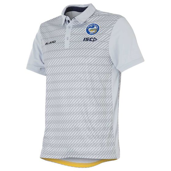 Parramatta Eels 2018 Mens Sublimated Polo Shirt Grey S, Grey, rebel_hi-res