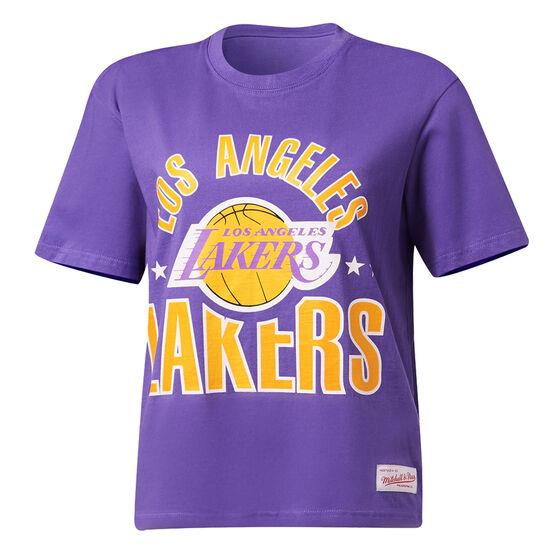 Mitchell & Ness Womens Stars Logo LA Lakers Tee, Purple, rebel_hi-res