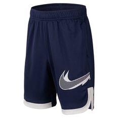 Nike Boys Graphic Training Shorts Navy / White XS, Navy / White, rebel_hi-res