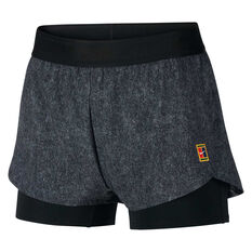 Nike Womens Court Flex Tennis Shorts Black / Grey XS, , rebel_hi-res