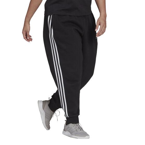 adidas Womens Essentials Fleece 3-Stripes Pants Plus, Black, rebel_hi-res