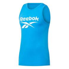 Reebok Mens Workout Ready Supremium Big Logo Tank Blue S, Blue, rebel_hi-res