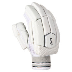 Kookaburra Ghost Pro 5.0 Junior Cricket Batting Gloves White/Grey Youth Right Hand, White/Grey, rebel_hi-res