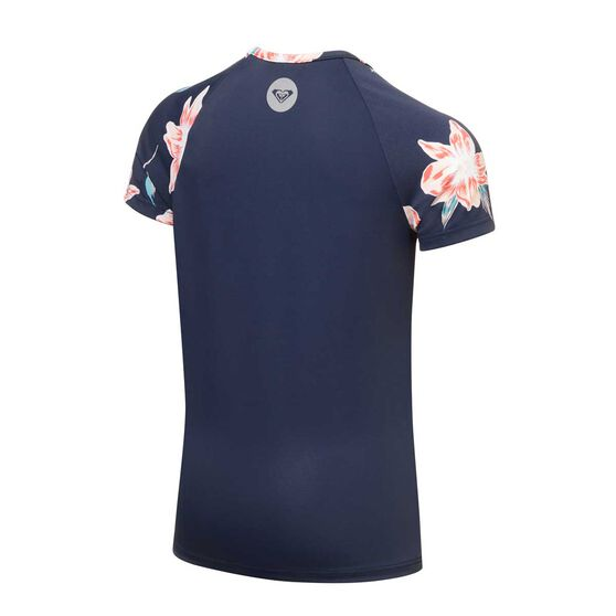 Roxy Girls Shore Short Sleeve Rash Vest, Blue, rebel_hi-res