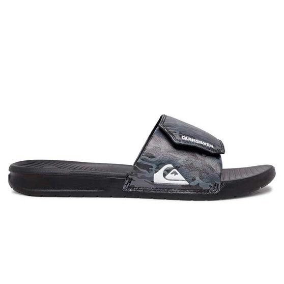 Quiksilver Bright Coast Adjust Mens Slides, Grey/Black, rebel_hi-res