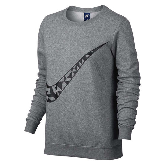 Nike Womens Graphic Crew Neck Sweater Grey Black Xs Adult Rebel