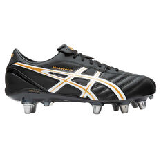 Asics Lethal Warno ST2 Rugby Boots Black / Gold US Mens 9 / Womens 10.5, Black / Gold, rebel_hi-res
