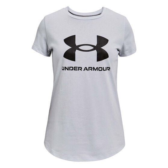 Under Armour Girls Live Sportstyle Graphic Tee, Grey/Black, rebel_hi-res
