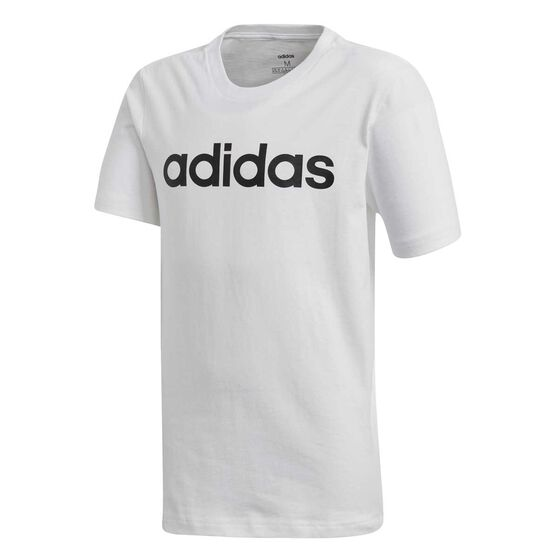 adidas Boys Essential Linear Tee White / Black 12, White / Black, rebel_hi-res