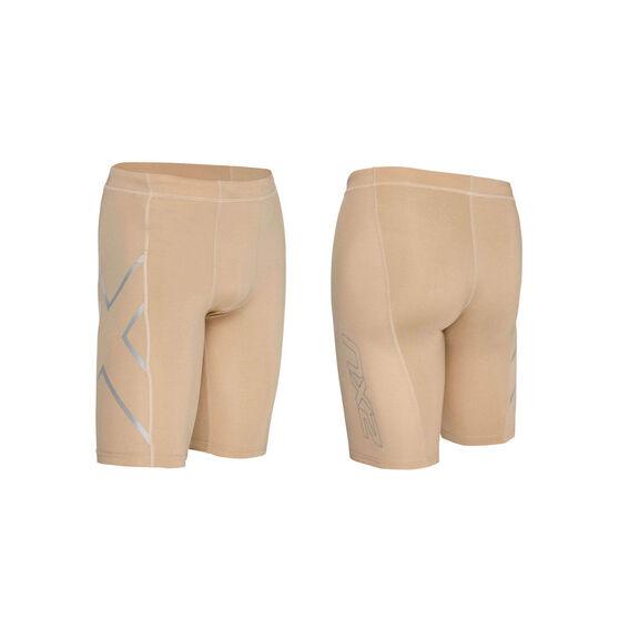 2XU Mens Compression Shorts, Beige, rebel_hi-res