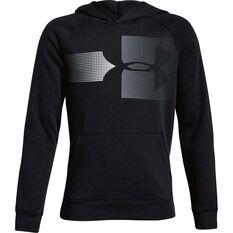 Under Armour Boys Rival Logo Hoodie Black / Grey XS, Black / Grey, rebel_hi-res