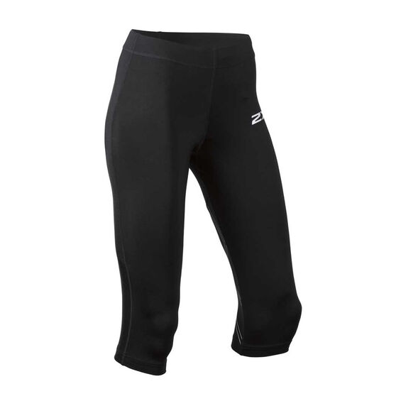 2XU Womens Aspire 3 Quarter Compression Tights, Black / Silver, rebel_hi-res