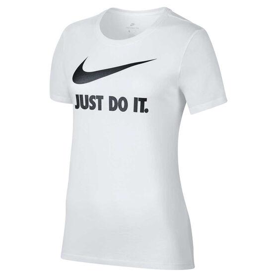 Nike Womens Just Do It Swoosh Tee, White / Black, rebel_hi-res