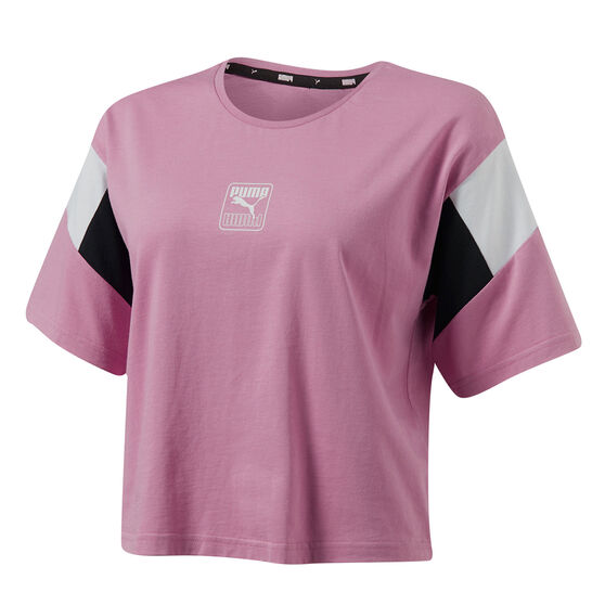 Puma Womens Rebel Cropped Tee, Pink, rebel_hi-res