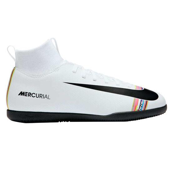 Nike Mercurial SuperflyX VI Club Kids Indoor Soccer Shoes White / Black US 1, White / Black, rebel_hi-res