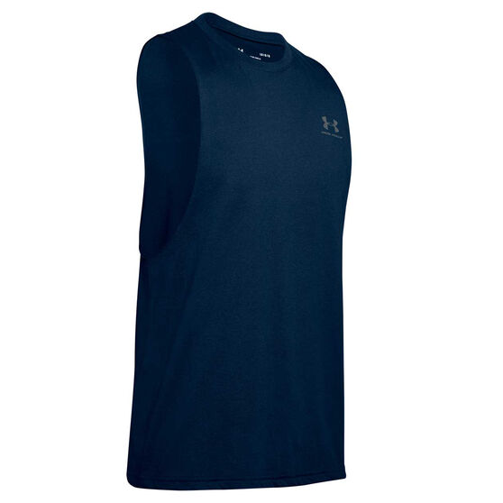 Under Armour Mens Sportstyle Left Chest Cut Off Tank, Navy, rebel_hi-res