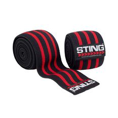 Sting 80in Elasticised Lifting Knee Wraps Black / Red 80in, , rebel_hi-res