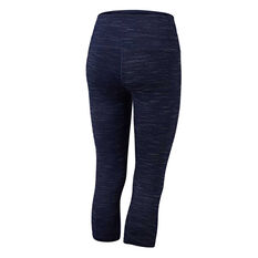 Running Bare Womens Ab Waisted Wots 3/4 Tights Navy 8, Navy, rebel_hi-res