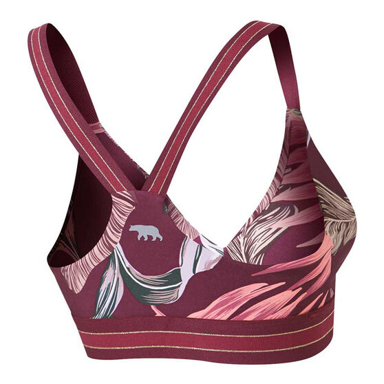 Running Bare Womens Christy Out Of Bounds Sports Bra, Print, rebel_hi-res