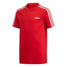 adidas Boys Essential 3 Stripe Tee Red / White 6, Red / White, rebel_hi-res