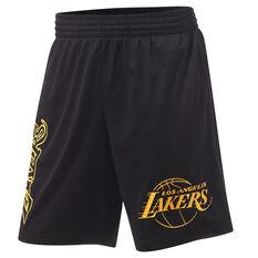 Los Angeles Lakers Mens Big Wordmark Mesh Shorts Black S, Black, rebel_hi-res