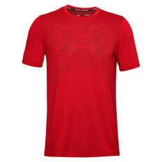 Under Armour Mens Seamless Logo Training Tee Red S, Red, rebel_hi-res