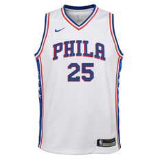 Nike Philadelphia 76ers Ben Simmons Association 2019 Kids Swingman Jersey White / Blue S, White / Blue, rebel_hi-res