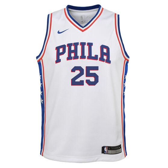 Nike Philadelphia 76ers Ben Simmons Association 2019 Kids Swingman Jersey, White / Blue, rebel_hi-res