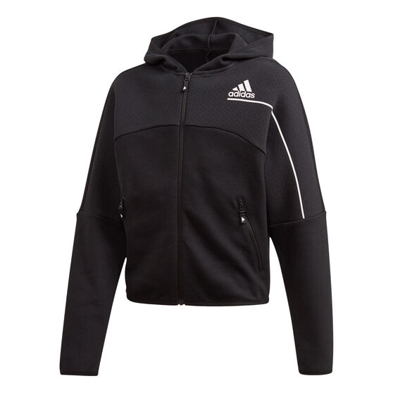 adidas Girls Z.N.E. Hoodie Black/White 10, Black/White, rebel_hi-res
