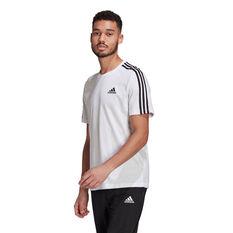 adidas Mens Essentials 3-Stripes Tee White S, White, rebel_hi-res