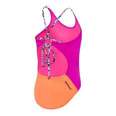 Speedo Girls Tie One-Piece Swimsuit Purple 8, Purple, rebel_hi-res