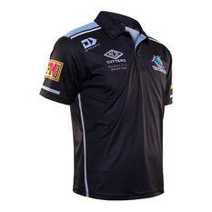 Cronulla-Sutherland Sharks 2020 Mens Media Polo Black S, Black, rebel_hi-res
