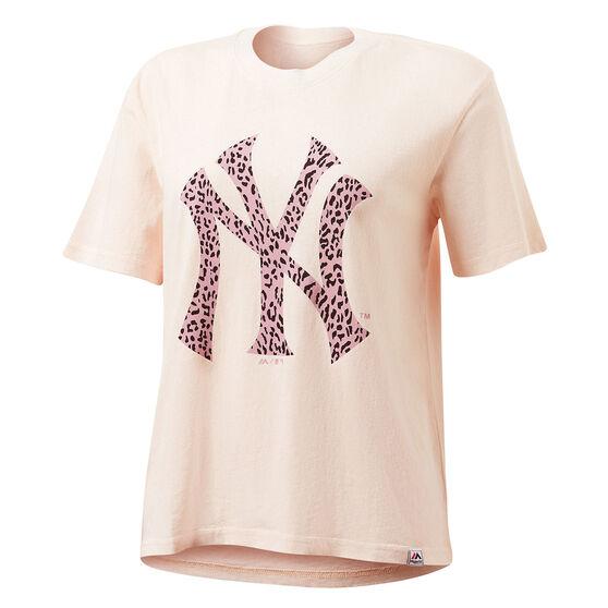 Majestic Womens NY Big Animal Logo Tee, Pink, rebel_hi-res