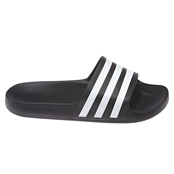 adidas Adilette Aqua Mens Slides, Black / White, rebel_hi-res