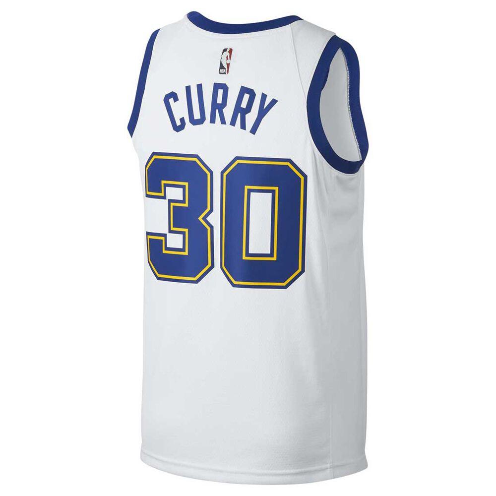 ed141944e9e Nike Golden State Warriors Stephen Curry HWC 2018 Mens Swingman Jersey  White   Royal S