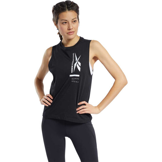 Reebok Womens Graphic Tank, Black, rebel_hi-res