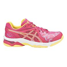 Asics Gel Netburner Academy 7 Womens Netball Shoes Pink / Yellow US 7, Pink / Yellow, rebel_hi-res