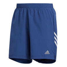 adidas Mens Run It 3 Stripe Shorts Blue S, Blue, rebel_hi-res