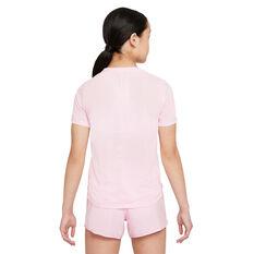 Nike Girls Dri-FIT One Graphic Tee Pink/Grey XS, Pink/Grey, rebel_hi-res