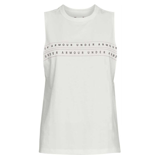 Under Armour Womens Graphic WM Muscle Tank, White, rebel_hi-res