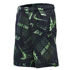 Nike Boys All Over Print DriFIT Basketball Shorts Black / Green 4, Black / Green, rebel_hi-res