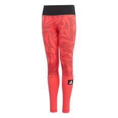 adidas Girls Training Summer Training Tights Red / Black 8, Red / Black, rebel_hi-res