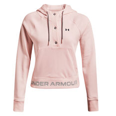 Under Armour Womens UA Rival Fleece Mesh Hoodie, Pink, rebel_hi-res