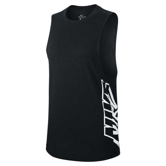 Nike Womens DriFIT Splash Tank, Black, rebel_hi-res
