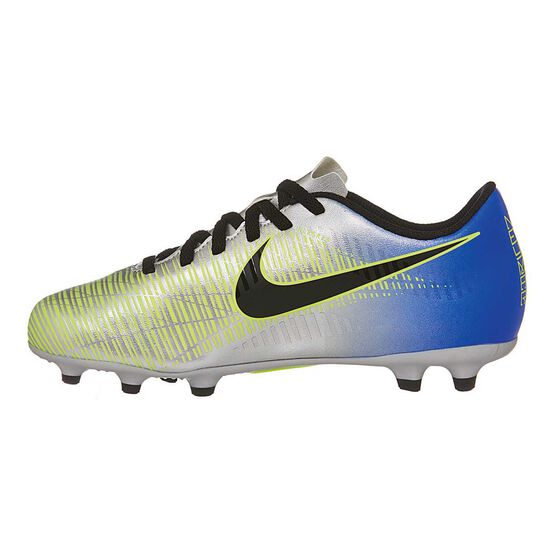 Nike Mercurial Vortex III NJR Junior Football Boots, Blue / Silver, rebel_hi-res