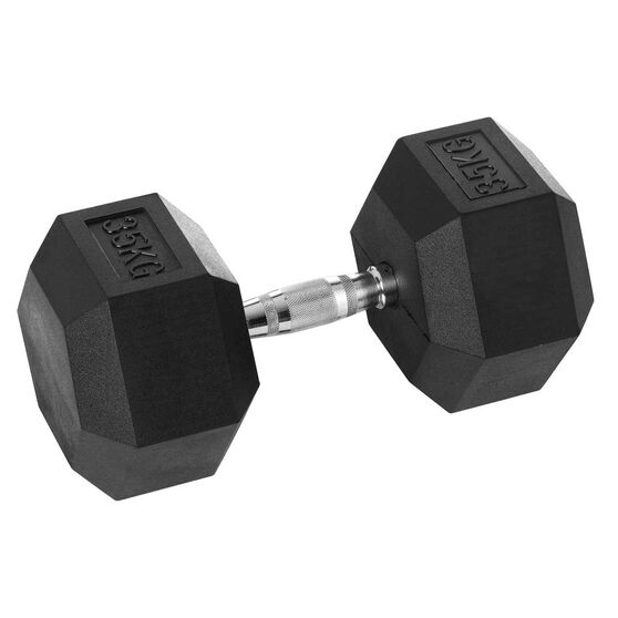 Celsius 35kg Rubber Hex Dumbbell, , rebel_hi-res