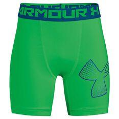 Under Armour Boys HeatGear Armour Mid Shorts Green / Blue XS, Green / Blue, rebel_hi-res