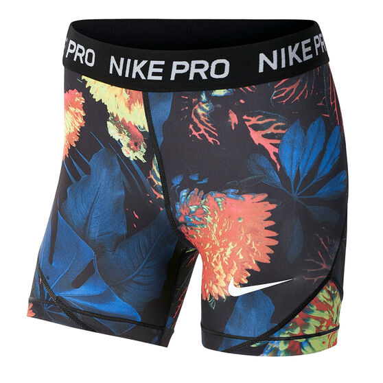 Nike Girls Pro Boyleg Shorts, Blue / White, rebel_hi-res