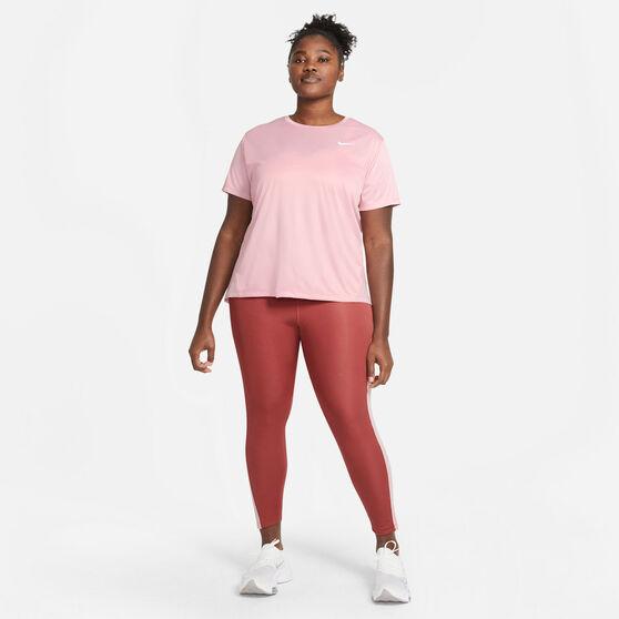 Nike Womens Miler Running Tee Plus, Pink, rebel_hi-res